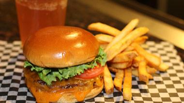 beer, cheeseburger and fries